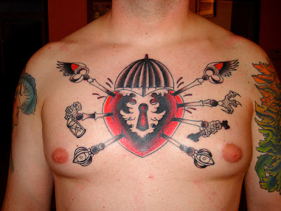 Keyhole Chest Heart Tattoo