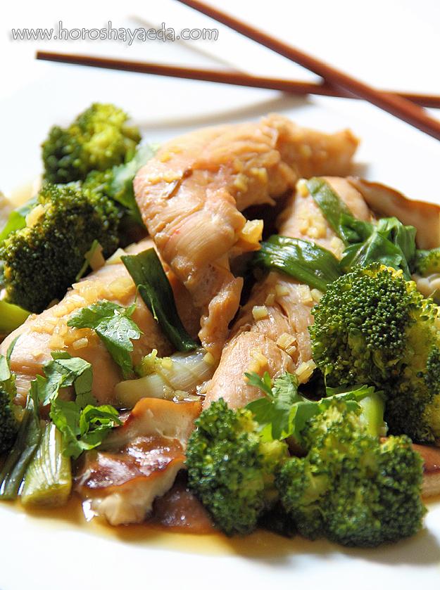 Курица на пару, с брокколи и шиитаке
