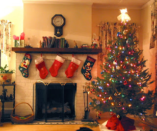 Picture of Decorated Christmas Trees and Xmas stockings