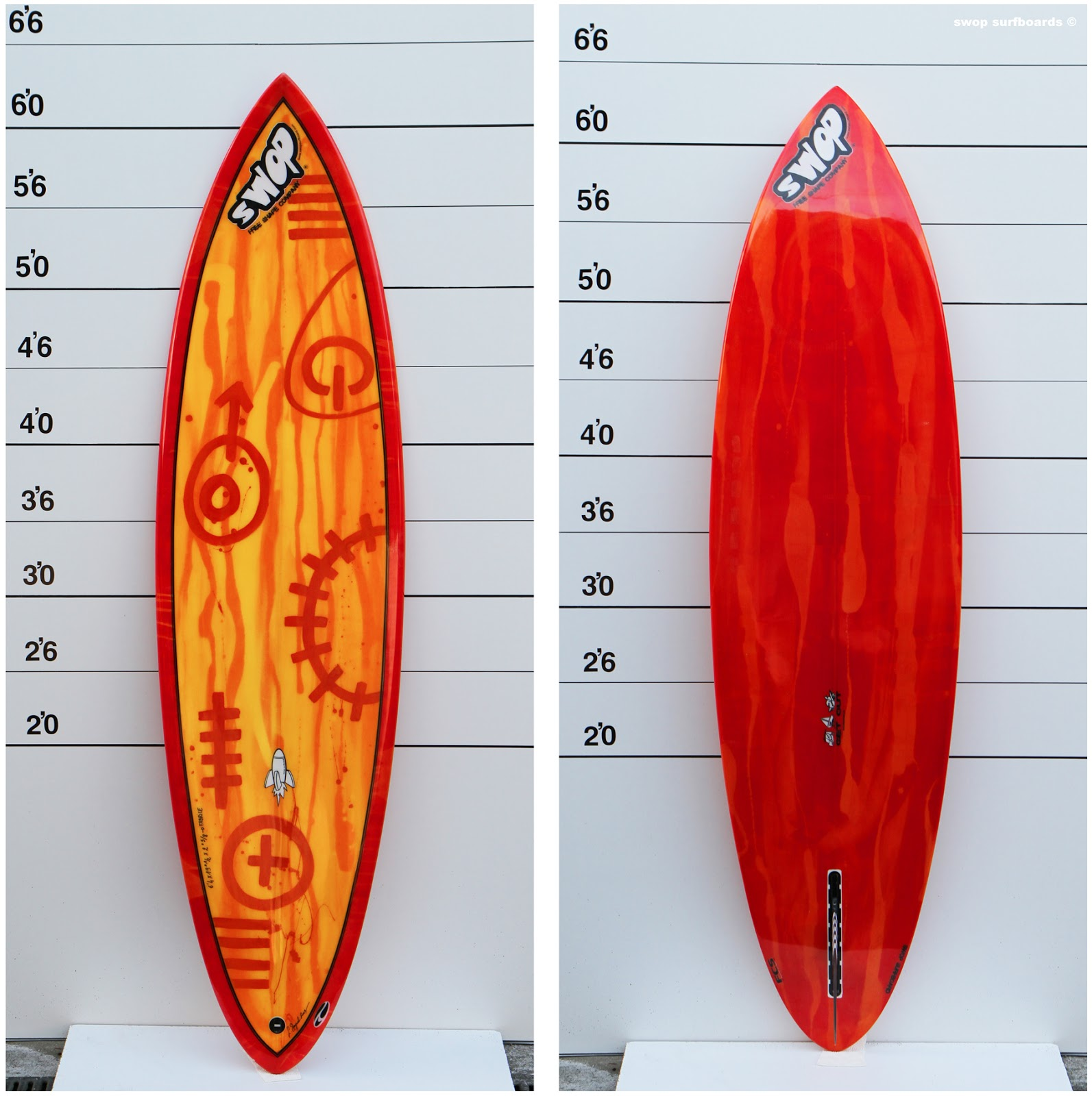 swop surfboards yellow and red classic single. Black Bedroom Furniture Sets. Home Design Ideas