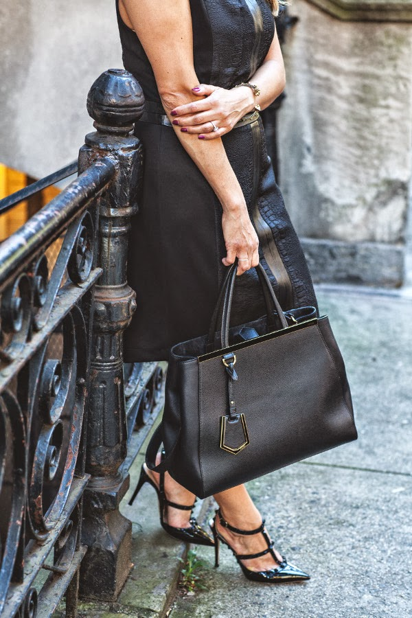 corporate catwalk; black dress; black dresses; how to wear black dress to work; valentino studded heels; studded heels; black heels; black purse; fendi; fendi 2jour; NYC fashion blogger; fashion blogger; fashion