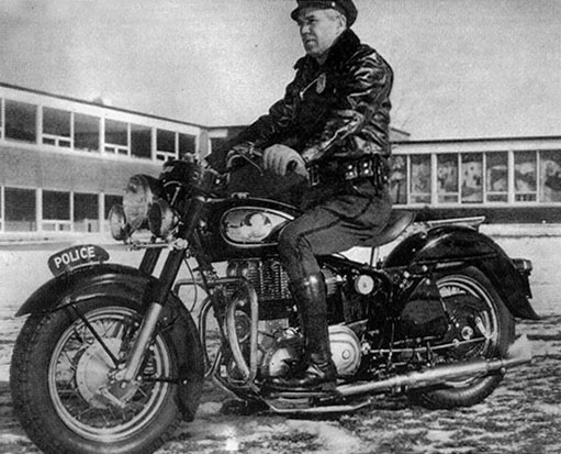 Real officer rode royal enfield indian chief for ad photo for Longmeadow motor cars enfield