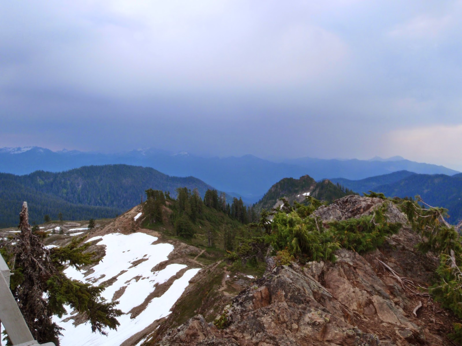 View from Park Butte fire lookout over toward the storms @ Mt Baker Wilderness Area