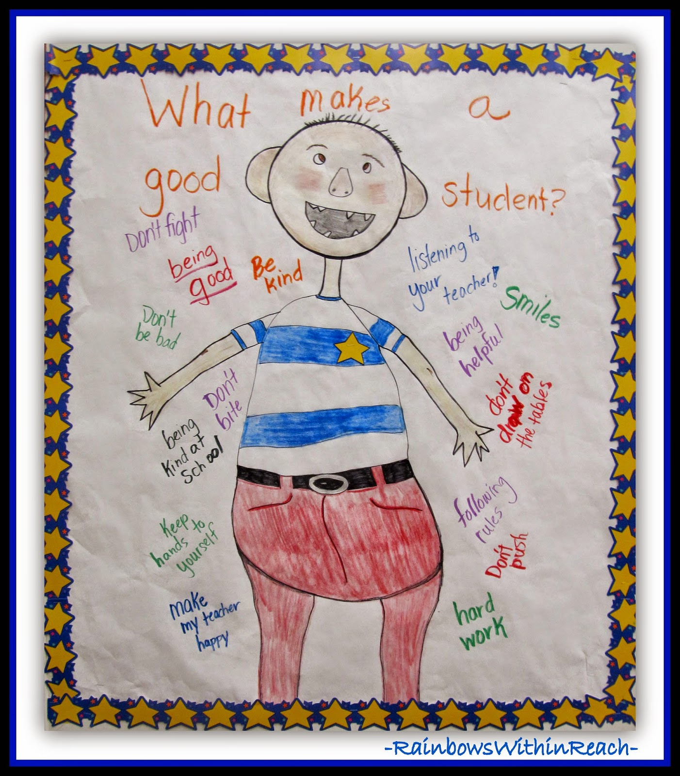 """No David!"" Anchor Chart for School Behaviors + Expectations at RainbowsWithinReach"
