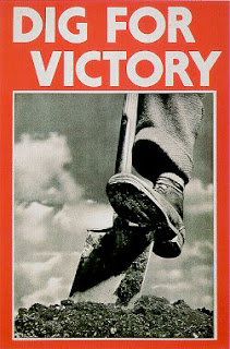 poster for dig for victory showing a single foot on a spade