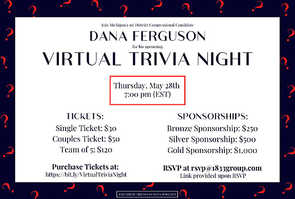 Trivia Night for 1st District Congressional Candidate Dana Ferguson is May 28