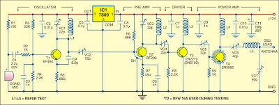 image Four Stage FM Transmitter circuit diagram