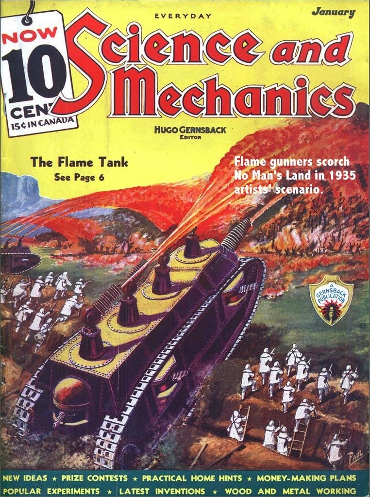 The Flame Tank - Hugo Gernsback's lurid idea for a magazine cover in 1936