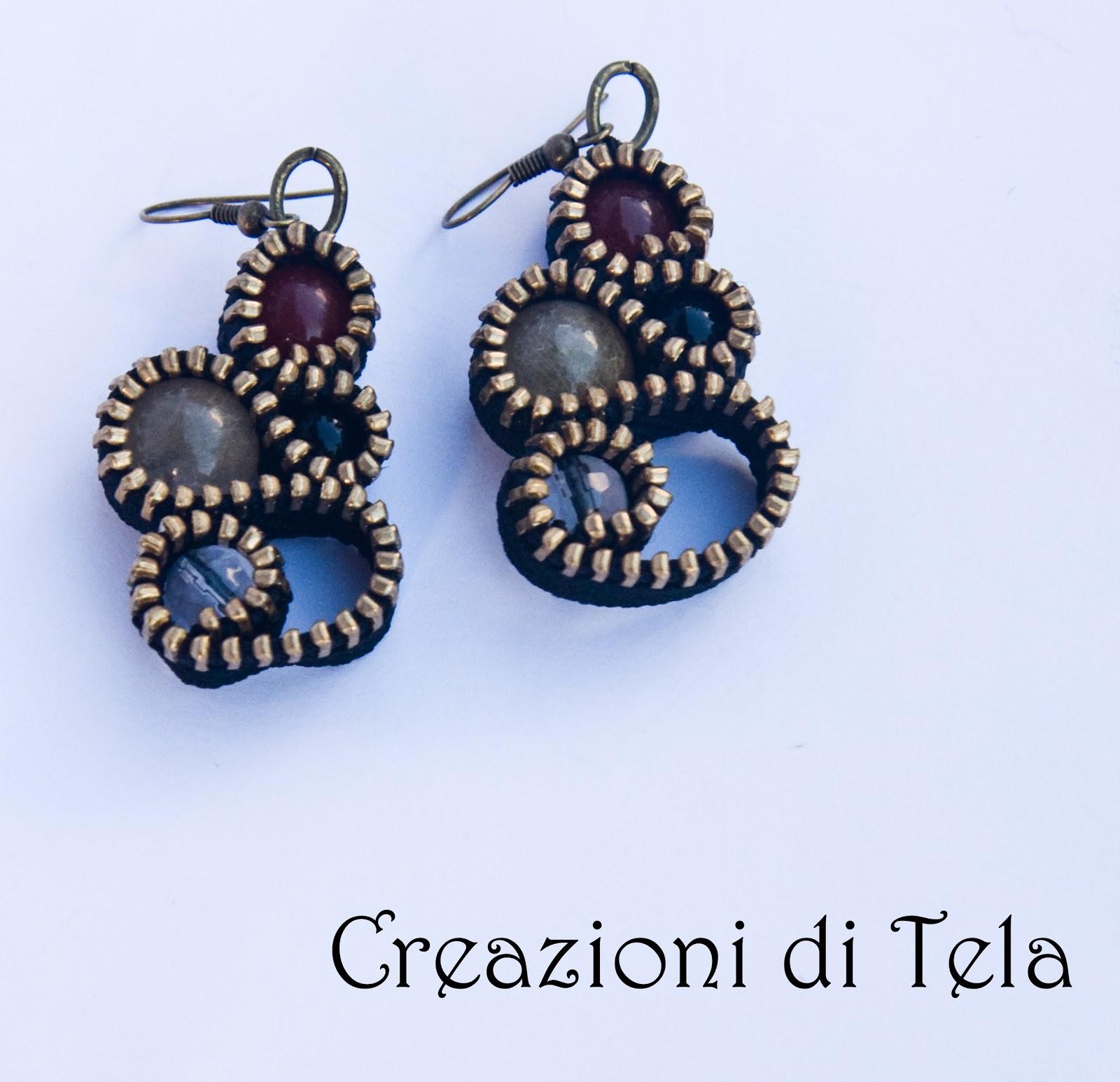 Simona tela creazioni artigianali orecchini con for Orecchini con pietre dure fai da te