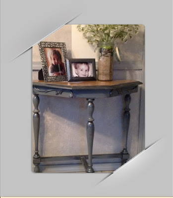Grey Table with torn Paper Bag Top
