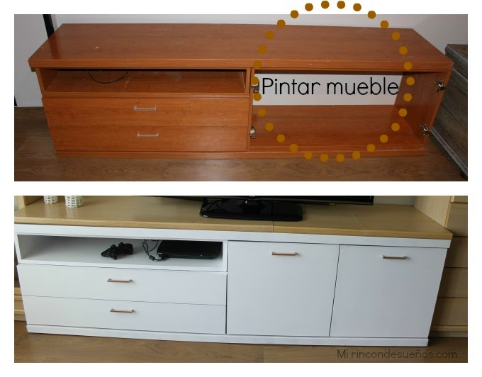Mi rinc n de sue os small lowcost reciclando mueble para for Pintar muebles lacados en blanco