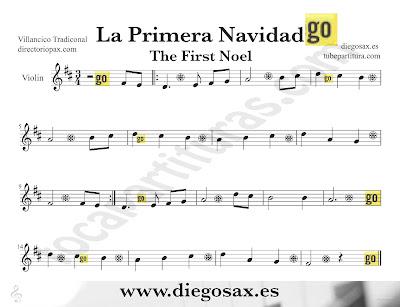 Tubepartitura La Primera Navidad partitura para Violín Villancico popular de Navidad