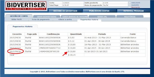 BidVertiser- histórico de pagamento