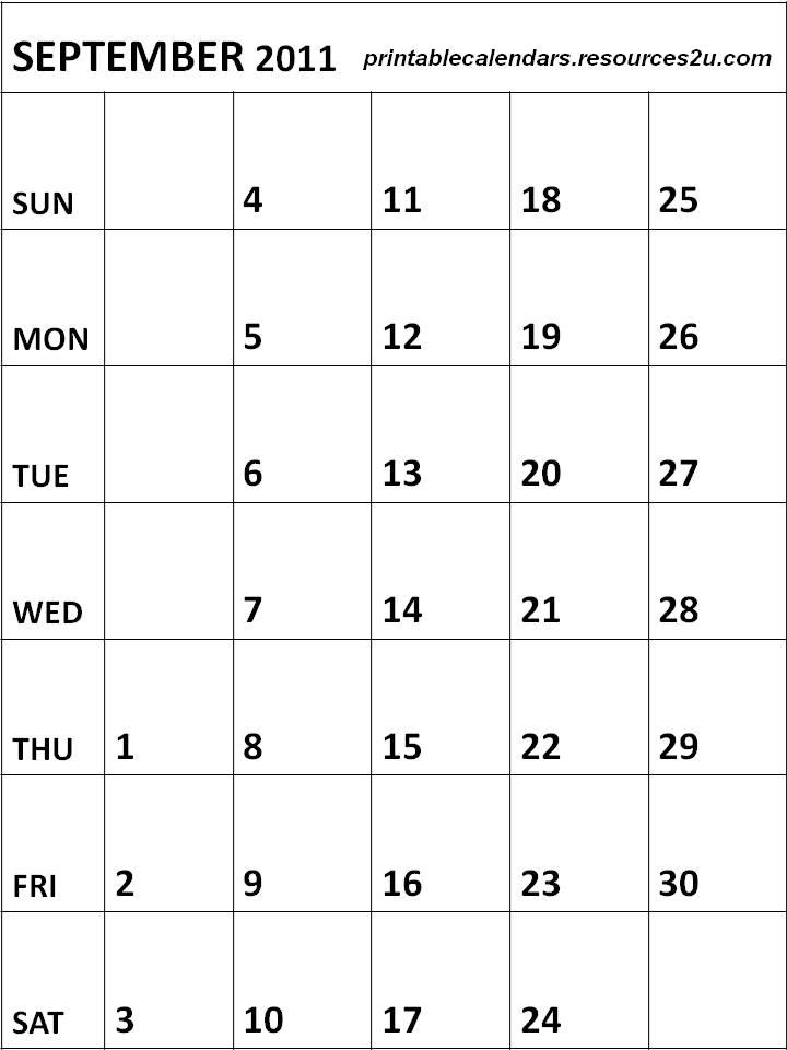 Free Calendars 2015, Bookmarks, Cards: Blank September 2011 Calendar ...