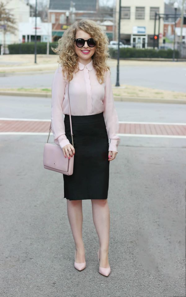 Banana Republic Scalloped Pink Silk Blouse