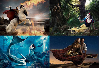 "Four photos from ""Year of a million Dreams"": David Beckham swordfights flames on horseback; Rachel Weisz lies in Snow White's dress surrounded by woodland animals; Michael Phelps and Julianne Moore are shown as mermaids in a coral reef; and Penelope Cruz and Marc Antony, clad in traditional arab clothing, float over a desert aboard a billowing carpet."