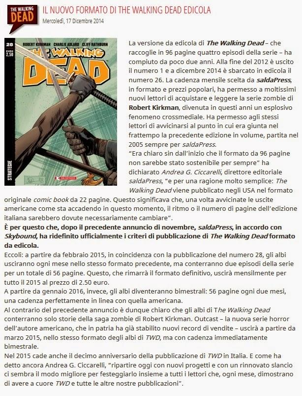 SaldaPress comunicato sull'edizione da edicola di TWD