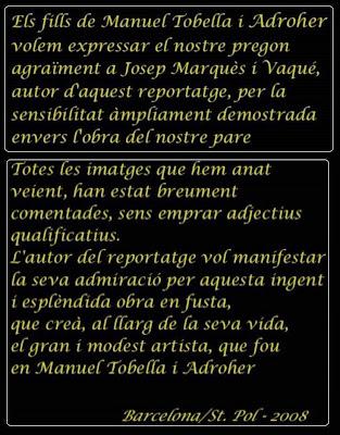 Agradecimientos en DVD sobre Manuel Tobella i Adroher