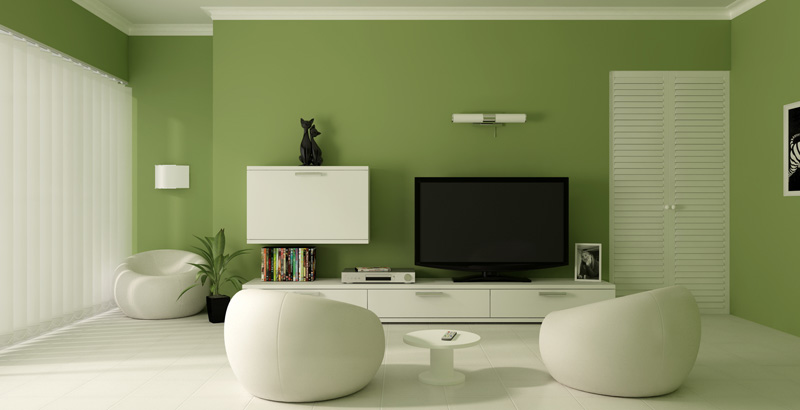Green Paint Color Living Room Photo