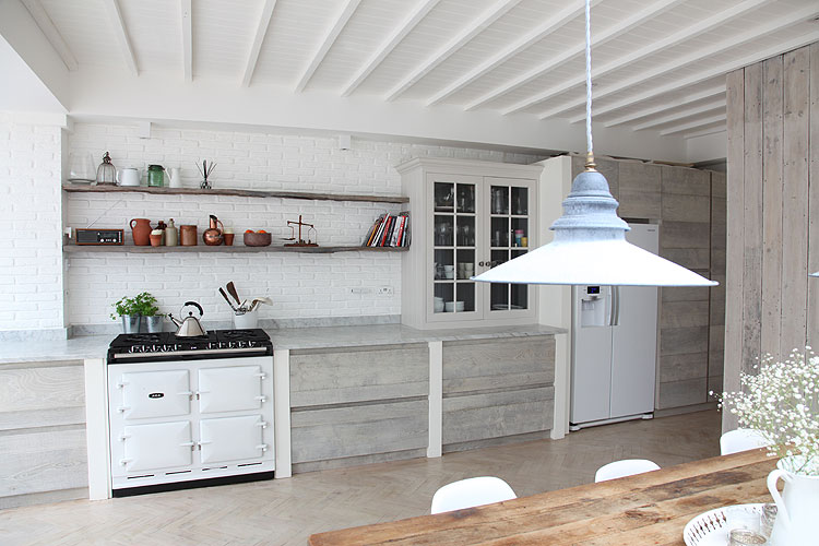 Kitchens with Wood Stained Cabinets White Tile