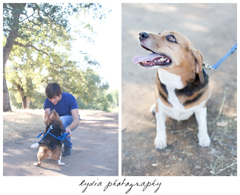 Senior guy with his dog at Forest Lake Christian senior lifestyle portraits in Rocklin, California