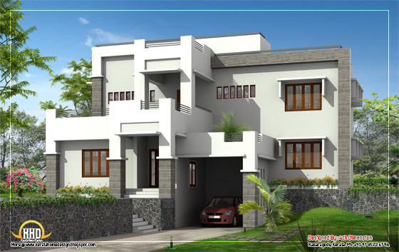 G+1 Modern home elevation - 2630 Sq. Ft. (278 Sq. Ft.) (333 Square Yards) - March 2012