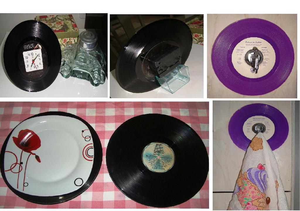 decoracao cozinha diy: reciclagem: Relógio de mesa, jogo americano e porta pano de cozinha