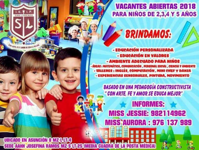 IEP San Lorenzo tiene las vacantes abiertas para niños de 2 , 3 ,4 y 5 años del Nivel Inicial.