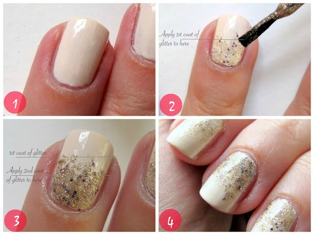 gradient glitter nails in 4 easy