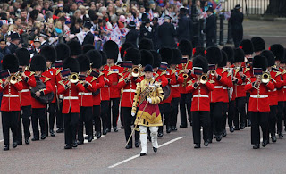 Ceremonial guards perform prior to the Royal Wedding