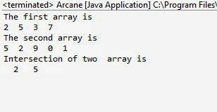 intersection of arrays in java with example