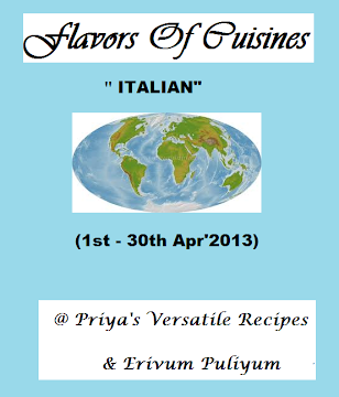 Flavors of Cuisine-Italian,Guest hosted @ Priya's space