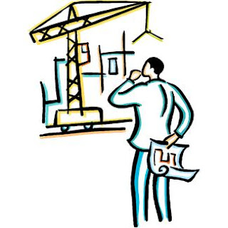 Architect with Engineering Blueprints Watching Construction, MS Office ClipArt