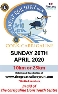 25k from Cork City to Carrigaline, 10k from Monkstown to Carrigaline - Sun 25th Apr 2020