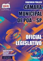 concurso Câmara de Poá (SP) Apostila Oficial Legislativo - Impressa.