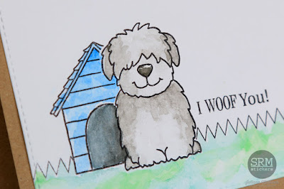 SRM Stickers Blog - I Woof You & Watercolors by Juliana - #card #janesdoodles #adogslife #stampedstitches #watercolors