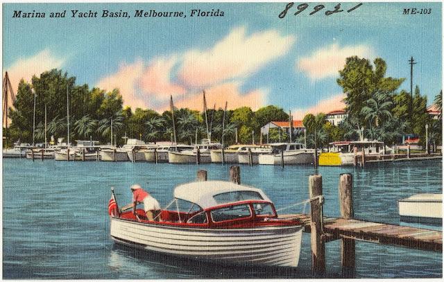 Marina Vintage Posctcard Melbourne Florida
