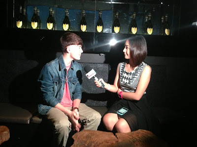 Greyson Chance being interviewed after his show in manila