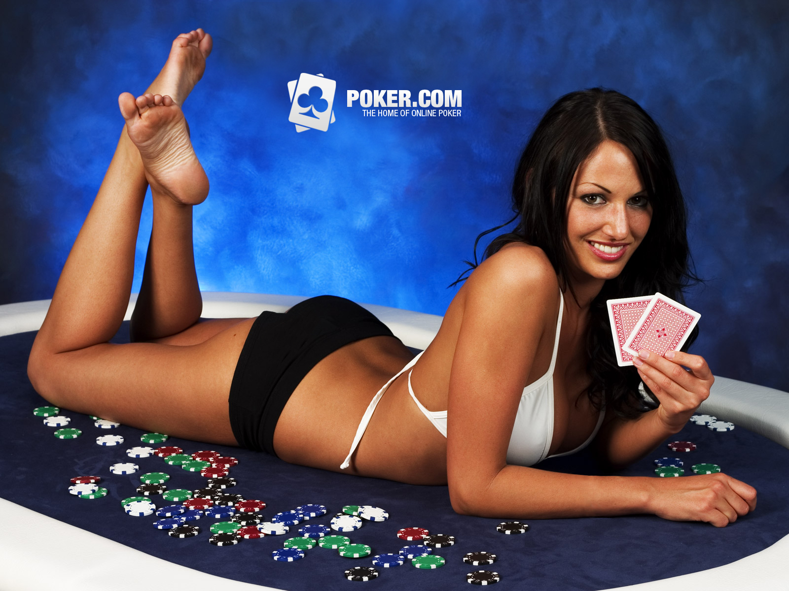 Online Game Poker Players and Beautiful Girl Wallpaper