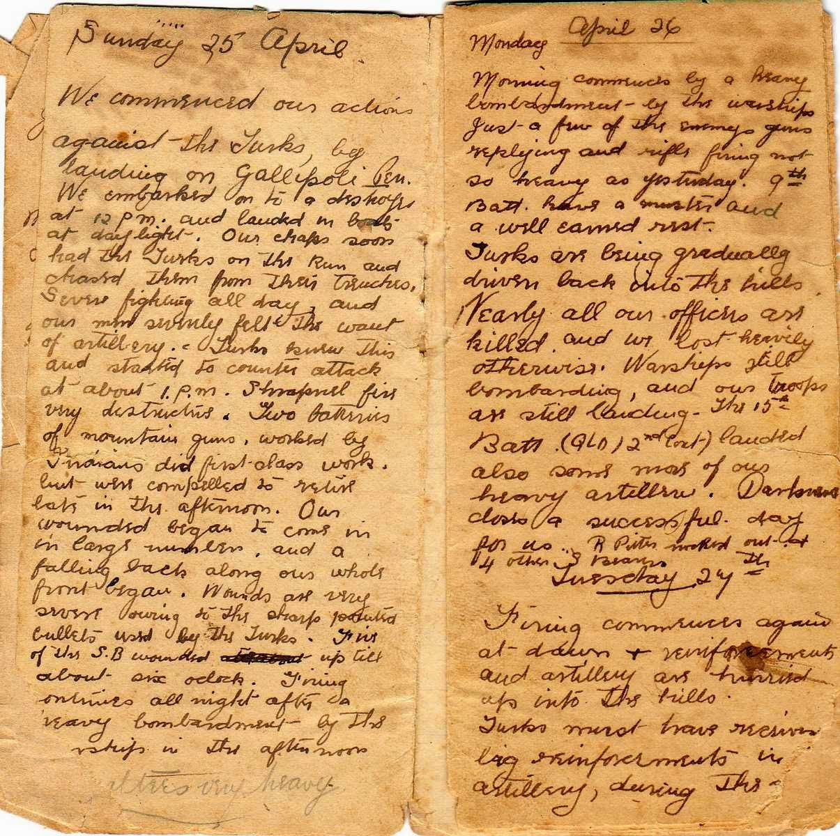 Image of page in diary
