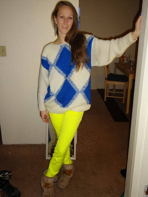 Neon yellow jeans, neon blue argyle sweater