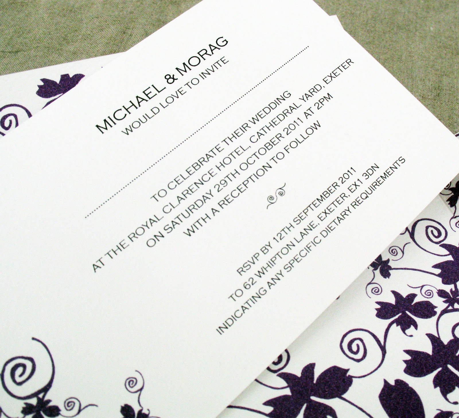 Inspiration for weddings invitations and stationery september 2013 request the pleasure of your company at their marriage at ceremony details on day date month year at time and afterwards at reception details stopboris Choice Image