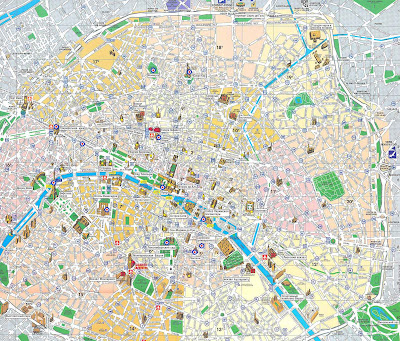 Big map of Paris France