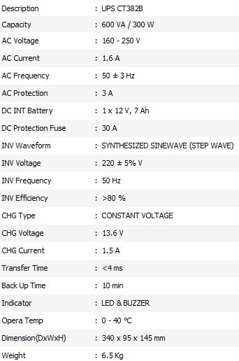 Spesifikasi UPS ICA CT 382B