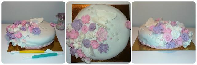 Roses & butterflie fondant cake