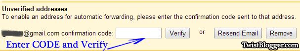 Enter Code To Verify Email