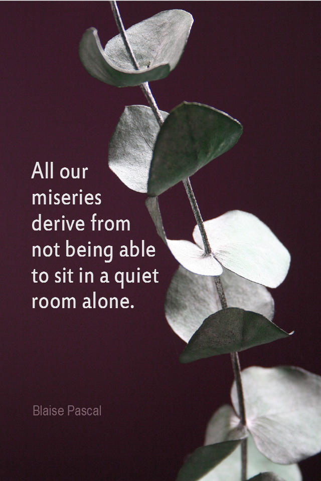 visual quote - image quotation for MEDITATION - All our miseries derive from not being able to sit in a quiet room alone. - Blaise Pascal