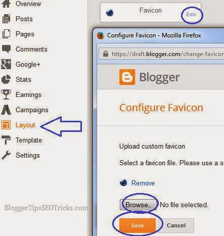 adding favicon to blogger official
