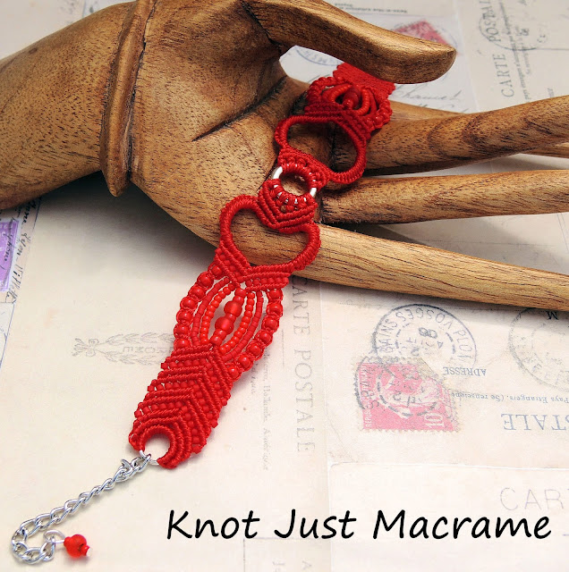Original heart micro macrame design by Sherri Stokey of Knot Just Macrame