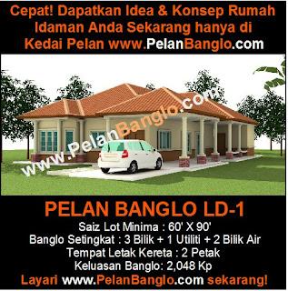 PELAN RUMAH BANGLO LD-1 (3 BILIK)   Pelan Rumah Idaman Anda (Plan